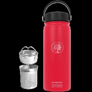 Wasserflasche rot 600ml Edelstahl