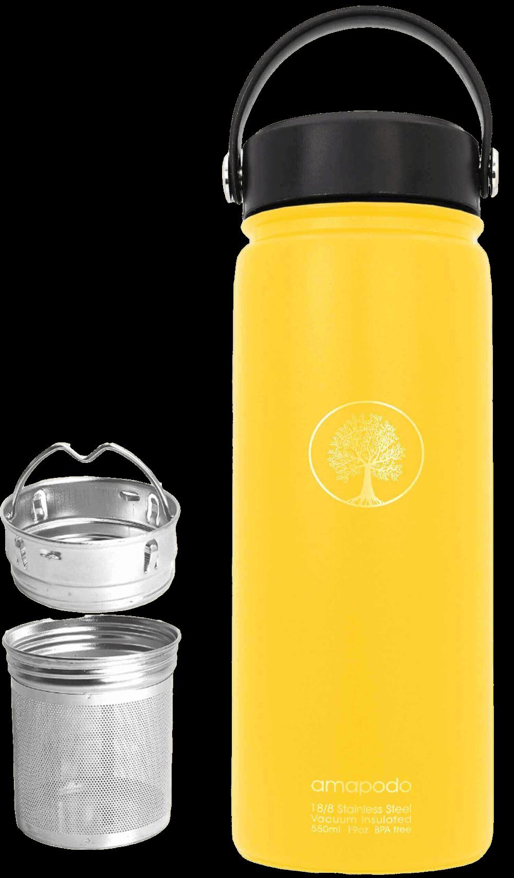 Wasserflasche gelb 600ml Edelstahl