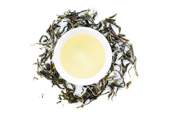 Grüner Tee in Tasse umgeben von losem Tee